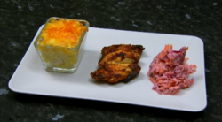 Marcel Somerville chicken wings with macaroni pie and mum's Caribbean coleslaw on Celebrit ...
