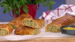 Prue and Peta's veggie sausage rolls with Welsh leeks and cheddar cheese on This Morning