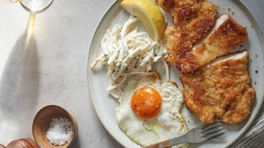 Marcus Wareing's chicken schnitzel with bread crumbs, fried egg and celeriac salad on This ...