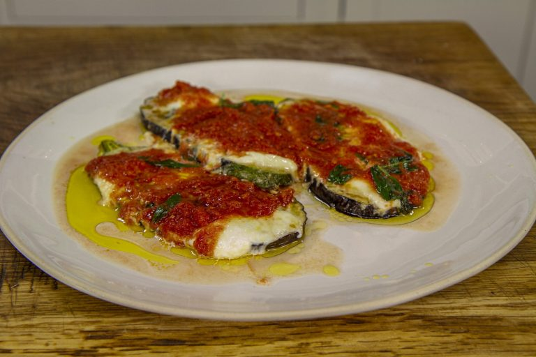 James Martin vegetarian Aubergine Parmigiana with mozzarella and Parmesan cheese on James Martin ...