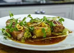 Mark Jordan roast duck breast with apple pave, celeriac puree and hispi cabbage on James Martin& ...