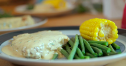 Chris's pork chops with mustard cream sauce on Lose Weight and Get Fit with Tom Kerridge