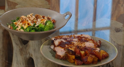 Cyrus Todiwala's Goan-style pork with a broccoli and beans salad on Saturday Kitchen