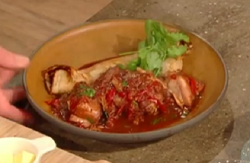 Matt Tebbutt rabbit stew with African flatbread on Saturday Kitchen
