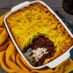 Ian and Henry (Bosh)'s  meat free  shepherd's pie with sun-dried tomatoes on Living On The Veg
