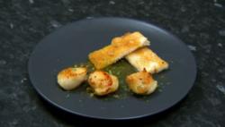 Marcel Somerville's seared sauvignon scallops on Celebrity Come Dine With Me 2020