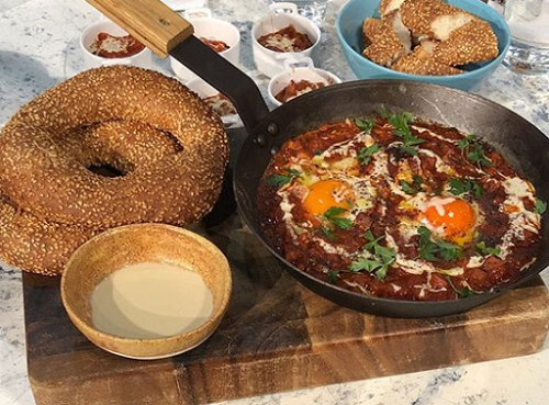 John Gregory-Smith chorizo shakshuka on Sunday Brunch