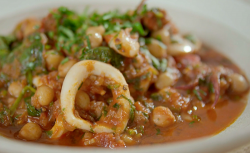 Tom Kerridge's Spanish stew with squid, chickpea and chorizo on Lose Weight and Get Fit