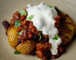 Tom Brown's Squid Chilli with Hasselback Potatoes on Sunday Brunch