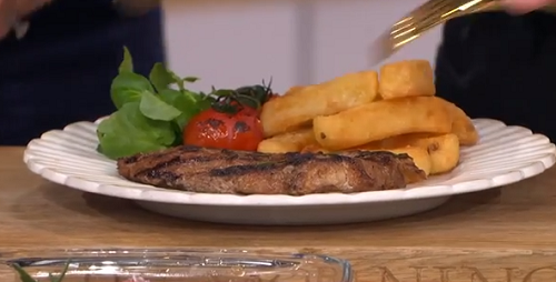 Alison O'Neil steak with British tea on This Morning
