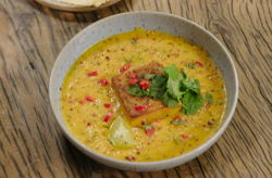 Katie's Thai sweet potato soup with a sweet potato fondant on Best Home Cook