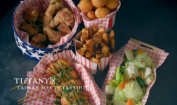 Tiffany's Taiwan Meets America takeaway with chicken, corn dogs, sweet potato fires, sweet ...