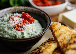 Simon Rimmer's Artichoke and Spinach Dip with Feta Flatbread on Sunday Brunch