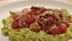 Georgia's tuna tartare with avocado and rice crackers main course on Best Home Cook 2020