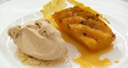 Beverley's roasted pineapple with peppercorns butterscotch ice cream and peanut brittle de ...