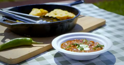 Sam and Shauna's Southern style  beans on toast with cornbread on Saturday Kitchen