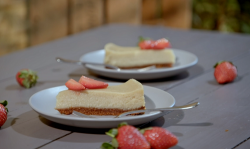 Ian and Henry's New York Style Baked Strawberry Cheesecake on Living On The Veg