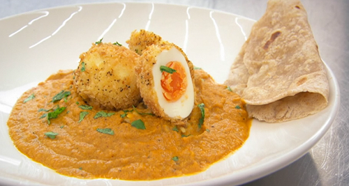 Danielle's panko crumb egg, curry sauce, and garlic and chilli chapatis on Masterchef 2020