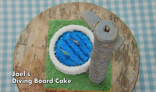 Joel's diving board cake on The Great Celebrity Bake Off for Stand Up 2 cancer (SU2C)