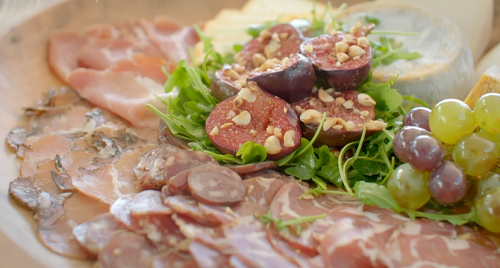 Ainsley Harriott's Charcuterie board with honey and hazelnut figs and chilli-glazed grapes ...
