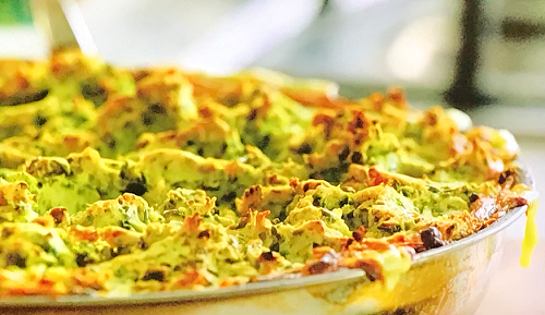 Jamie's sweet pea fish pie with frozen spinach, salmon and white fish on Jamie: Keep Cooki ...