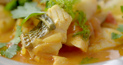 Ainsley Harriott's fish stew with prawns, john dory, sea bass and vegetables on Ainsley ...