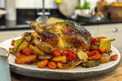 Brian Turner's Roasted Chicken with Lemon, Thyme, Brioche and Onion Stuffing, and Chilli V ...