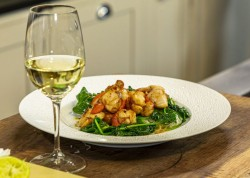 Dan the Fish Man's scallops, noodles and spinach dish on James Martin's Saturday Morning