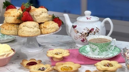 Juliet Sear's Mother's Day afternoon tea with scones and jam tarts on This Morning