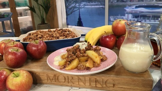 BOSH's salted caramel apple crumble with dates, rolled oats and vegan custard on This Morning