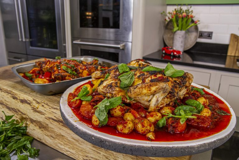James Martin Spatchcocked Spanish chicken with  nadjua sausage, potatoes and vegetables on James ...