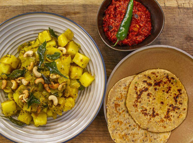Asma Khan's Kaju Aloo with Rogni Roti picnic bread , tomato chutney with Prunes and Aprico ...