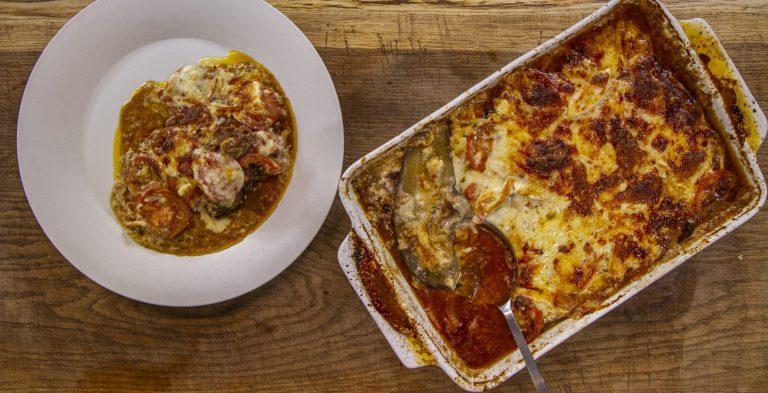 James Martin moussaka with lamb mince and bechamel sauce on James Martin's Saturday Morning