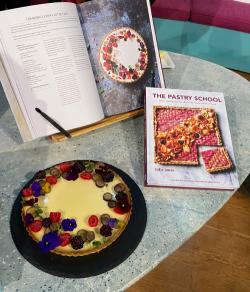 Georgina Hayden's chamomile panna cotta tart using a recipe from The Pastry School book on ...