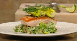 Jason Atherton'S roasted salmon with  Jersey Royal potatoes, lettuce and herbs on Saturday ...