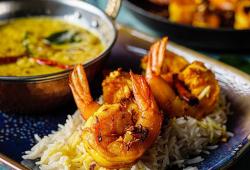 Asma Khan's masoor dal with ghee fried prawns on Sunday Brunch