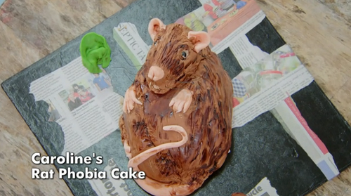 Caroline's rat phobia's cake  on The Great Celebrity Bake Off for Stand Up 2 cancer  ...