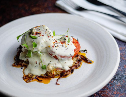 Simon Rimmer's Celeriac Rosti with Roasted Toms and Blue Cheese Sauce on Sunday Brunch