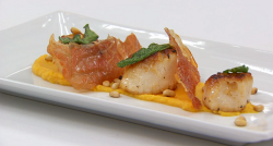 Claire's pan fried scallops with butternut squash puree, Parma ham, crispy sage and nuts o ...