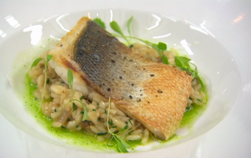 Claire's pan fried sea bass with clam risotto and parsley oil on Masterchef 2020