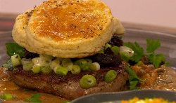 Ellis's steak and mushroom pie with miso sauce on Ready Steady Cook