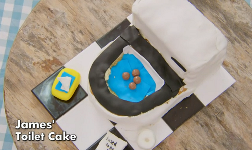 James' toilet cake on The Great Celebrity Bake Off for SU2C