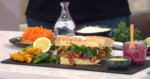 Max's vegetarian sandwich with coriander and peanut salsa on This Morning