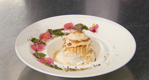 Sandy's baked Alaska with sesame sponge, miso ice cream and Mauritius rum on Masterchef 2020