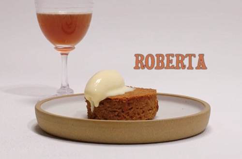 Roberta's apple and ginger sponge with apple ice cream and ginger beer dessert on the Grea ...