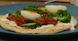Anna Haugh's brunch flatbread with Chorizo and egg on Saturday Kitchen