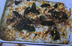 Jamie Oliver's lamb biryani with salad, raita and papadums on Jamie: Keep Cooking and Carry On