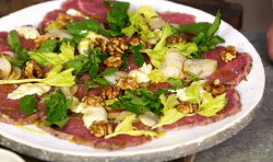 James Martin highland beef carpaccio with candied walnuts and pickled pear and watercress on Jam ...