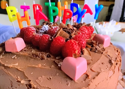 Jamie Oliver's chocolate birthday cake with fresh raspberry topping on Jamie: Keep Cooking ...
