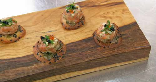 Christian's salmon tartare with apple, cream, yuzu and crackers canapes on Masterchef 2020
